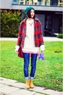 Chelsea-camel-stradivarius-boots-plaid-second-hand-coat-nowistyle-bag