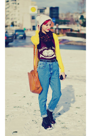 H&amp;M hat - vintage jeans second hand jeans - yellow cardi Mango cardigan