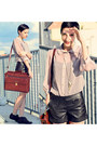 Transparent-river-island-shirt-huge-vintage-bag-black-leather-shorts