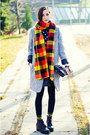 Silver-gray-nowistyle-coat-second-hand-scarf-navy-dotted-nowistyle-blouse