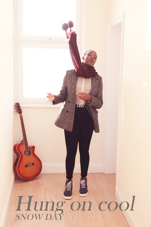 new look jacket - Dr Martens boots - H&amp;M leggings - new look scarf