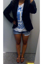 Zara blazer - Zara shirt - Zara shorts - Minelli shoes