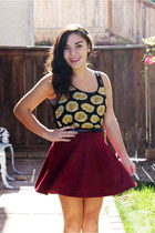 brick red Forever 21 skirt - black Forever 21 top