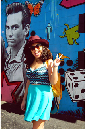 turquoise blue Forever 21 skirt - maroon asos hat - mustard Ross bag