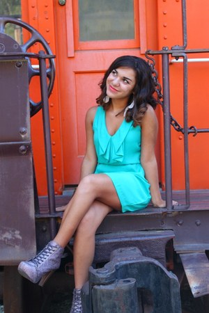 aquamarine Urban Outfitters dress - light pink go jane boots