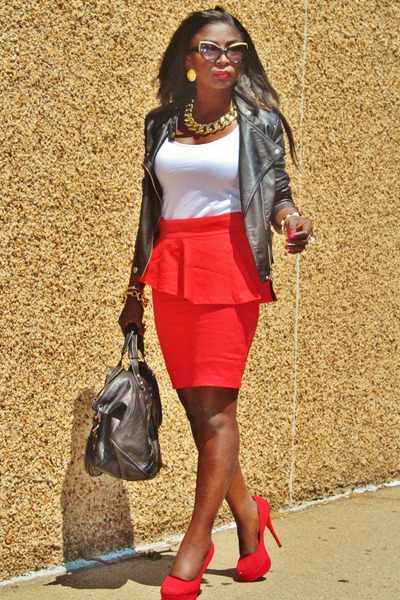 red peplum Zara skirt - black leather jacket free people jacket