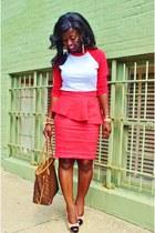 red peplum Zara skirt - red baseball tee American Apparel shirt