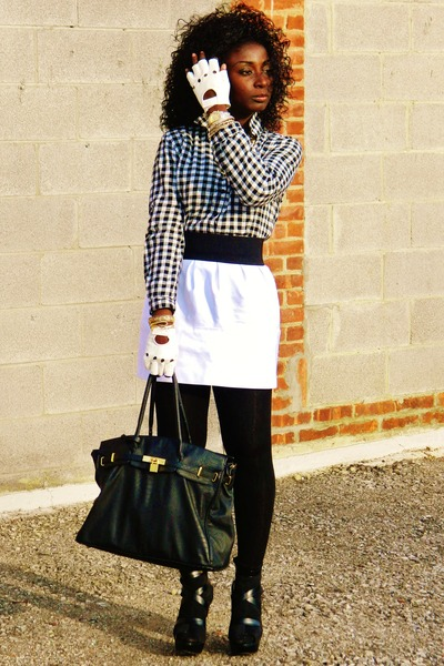 white Zara skirt - black Urban Expressions bag