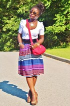 hot pink striped skirt Old Navy skirt - white Zara shirt
