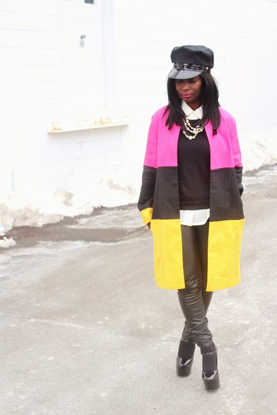 hot pink color block Princess coat - black Jcrew sweater