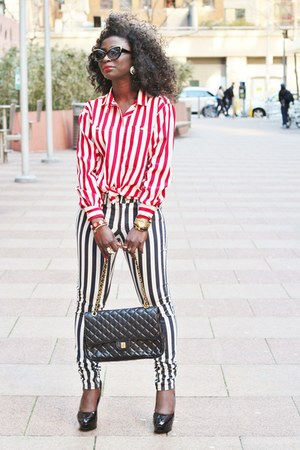 white striped H&M pants