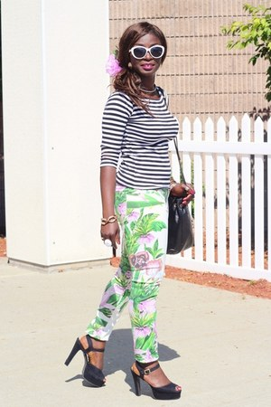 stripes Zara shirt - green leaf print BlancNYC pants