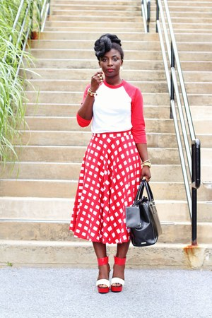 red baseball American Apparel shirt - red gingham asos skirt