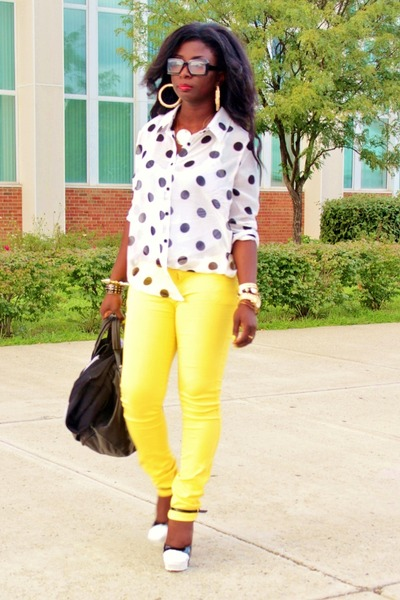 white polka dots Forever 21 shirt - black diy Aldo shoes