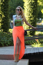 carrot orange asos skirt - black Chan bag - chartreuse Urban Outfitters blouse