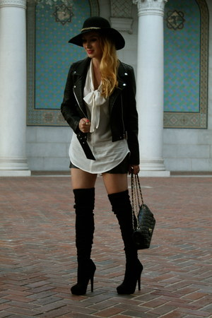 black Zara jacket - dark gray Chanel bag