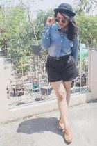 black bowler hat Thrift Store hat - blue jeans Thrift Store blazer