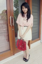 light pink Widely Project blouse - red suede Forever 21 bag