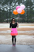 bubble gum JCrew skirt - pink Target boots - black beret H&M hat