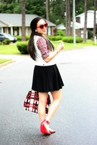 red Forever 21 shirt - red Prada bag - red Charlotte Russe sunglasses