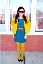 teal Forever 21 dress - mustard Forever 21 jacket - mustard Forever 21 tights