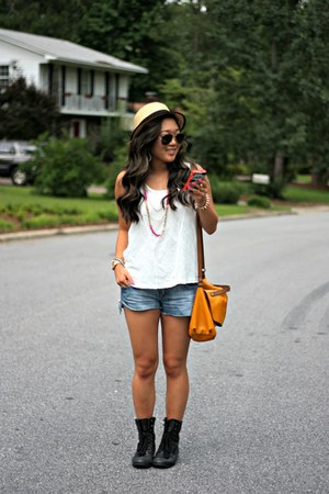 eggshell straw boater Urban Outfitters hat - black Forever 21 boots