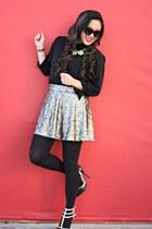 gold G by Guess skirt - black Karen Walker sunglasses - black Forever 21 blouse