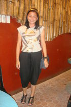 Redgirl top - random brand pants - chelsea shoes - random brand purse