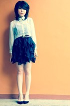 tiered skirt - sheer shirt - crystal necklace