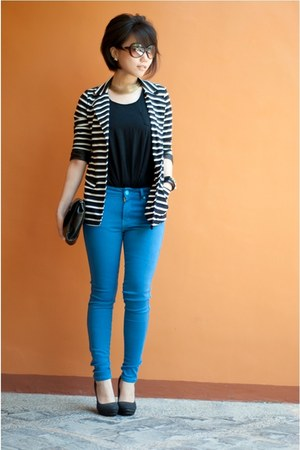 striped jacket - cobalt Zara jeans - sleeveless Mango top - pumps Aldo heels