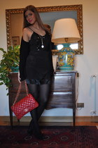 Chanel bag - black felicee dress - Tiffany & Co necklace - Zara heels