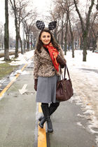 red scarf - silver skirt - gray boots - brown gloves - black tights - gold coat