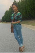 Nordstrom Rack heels - holes H&M jeans - Target bag - Zara blouse