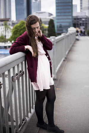 black Primark tights - pink H&M dress - brick red New Yorker cardigan
