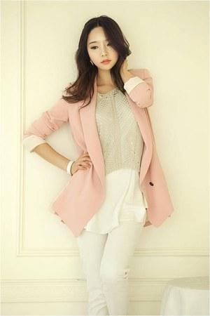 pink blazer RibbonOKorea blazer