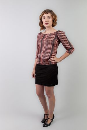peach stripe Many Belles Down blouse