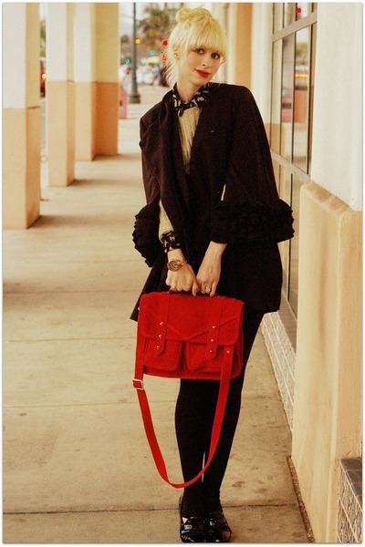 black Ruffian coat - dark khaki Zara blouse - ruby red asos bag