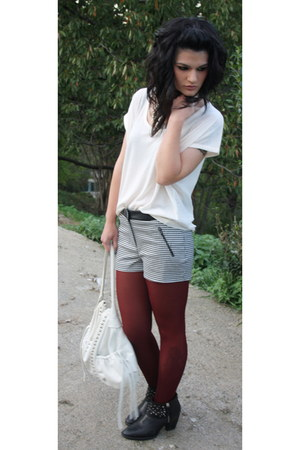 black Zara boots - maroon Calzedonia tights - white Lupo Barcelona bag