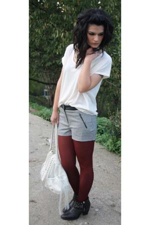 black Zara boots - maroon Calzedonia tights - white Lupo Barcelona bag
