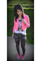 hot pink H&M jacket - white H&M shirt - gray Zara shorts