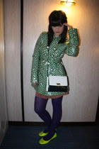 green Juicy Couture coat - purple asos tights - white frenchy of california bag