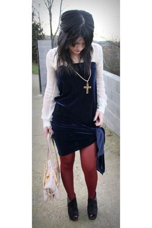 navy Casadei dress - eggshell Mango shirt - brick red Calzedonia tights