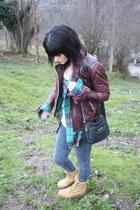aquamarine volcom shirt - mustard Wrangler boots - brick red Topshop jacket
