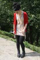 ruby red el corte ingles shirt - black new look boots - tan Las pepas dress