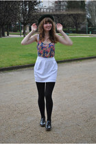 green vintage hat - black andré shoes - white asos skirt
