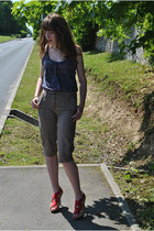 red Zara heels - purple pull&bear top - brown united colors of benetton pants