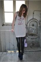 silver Trend T blouse - navy H&M bodysuit - black Bershka tie