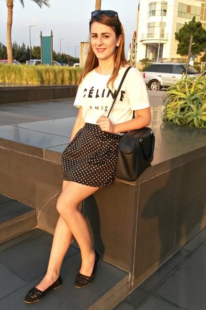 white Celine t-shirt - black H&M shoes - black polka dots Max skirt