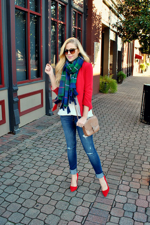 red Lauren Conrad blazer - abercrombie and fitch scarf