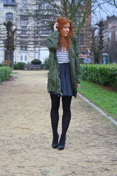 green thrift coat - white H&M t-shirt - black H&M skirt - black Zara shoes